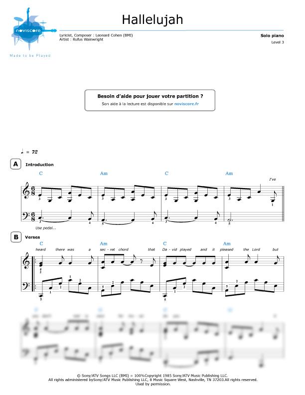 Klaviernoten Hallelujah Rufus Wainwright Noviscore Noten