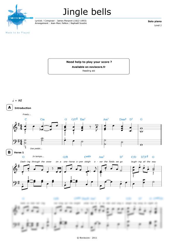 Klaviernoten Jingle Bells (Chanson de Noël) | Noviscore Noten