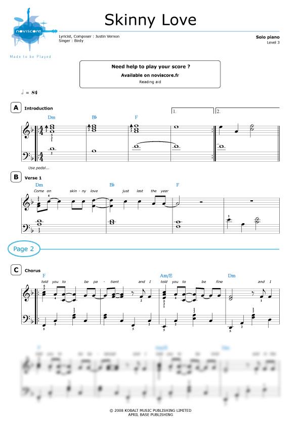 Klaviernoten Skinny Love Birdy Noviscore Noten