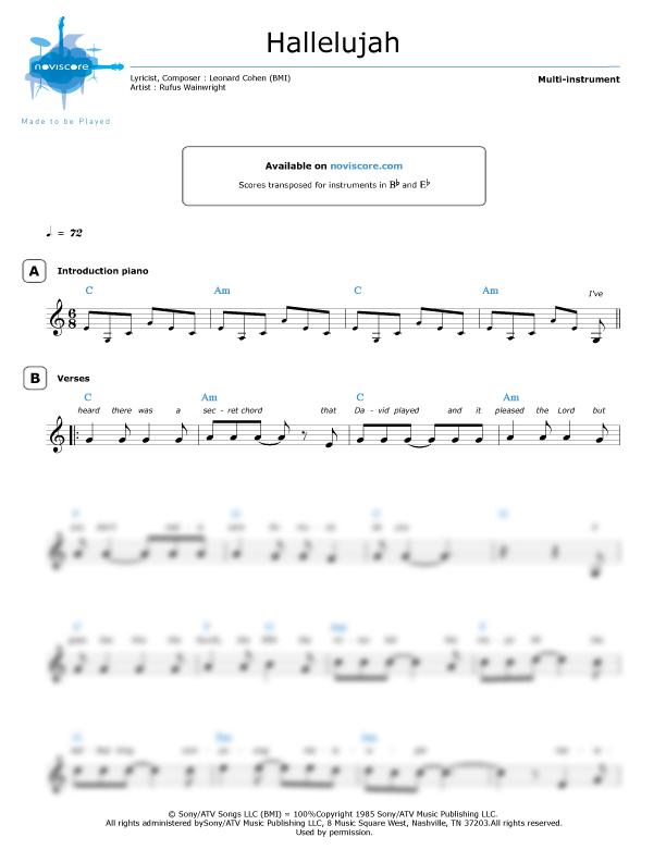 Andere noten Hallelujah (Rufus Wainwright) einfache Noten   Noviscore