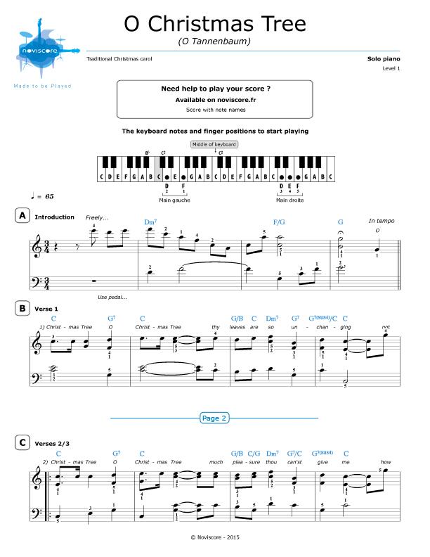 Noten Von O Tannenbaum.Klaviernoten O Tannenbaum Chanson De Noël Noviscore Noten