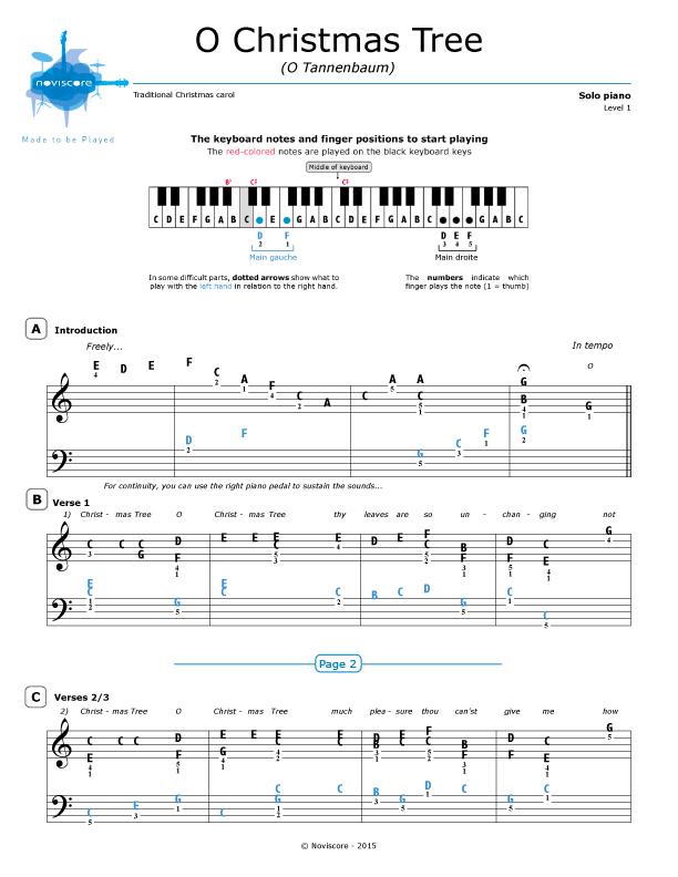 Weihnachtslieder Mit Noten Kostenlos Ausdrucken.Klaviernoten O Tannenbaum Chanson De Noël Noviscore Noten