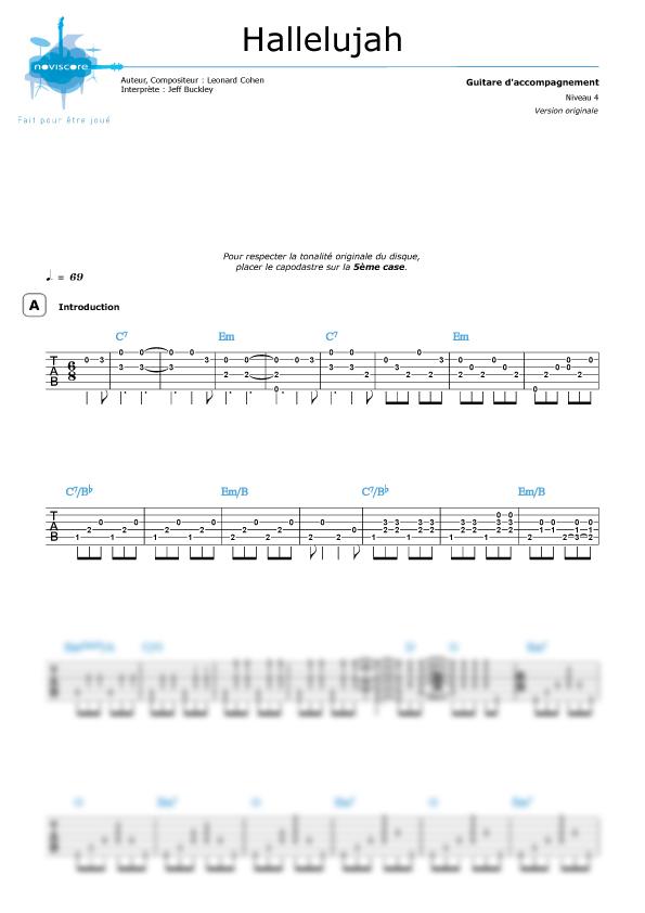 Griffschrift fur gitarre Hallelujah (version guitare) (Jeff Buckley ...