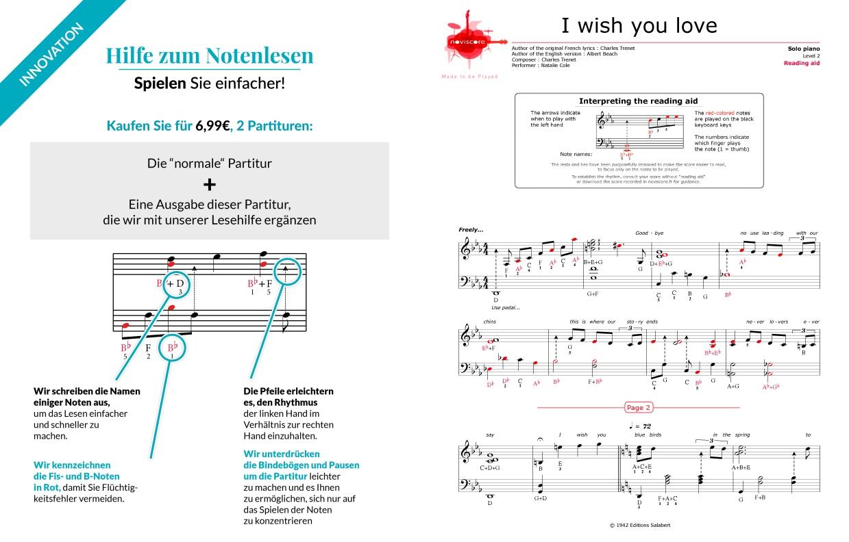 Klaviernoten I wish you love (Natalie Cole) | Noviscore Noten