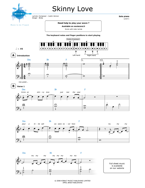 Umsonst Klaviernoten Skinny Love Birdy Noviscore Noten