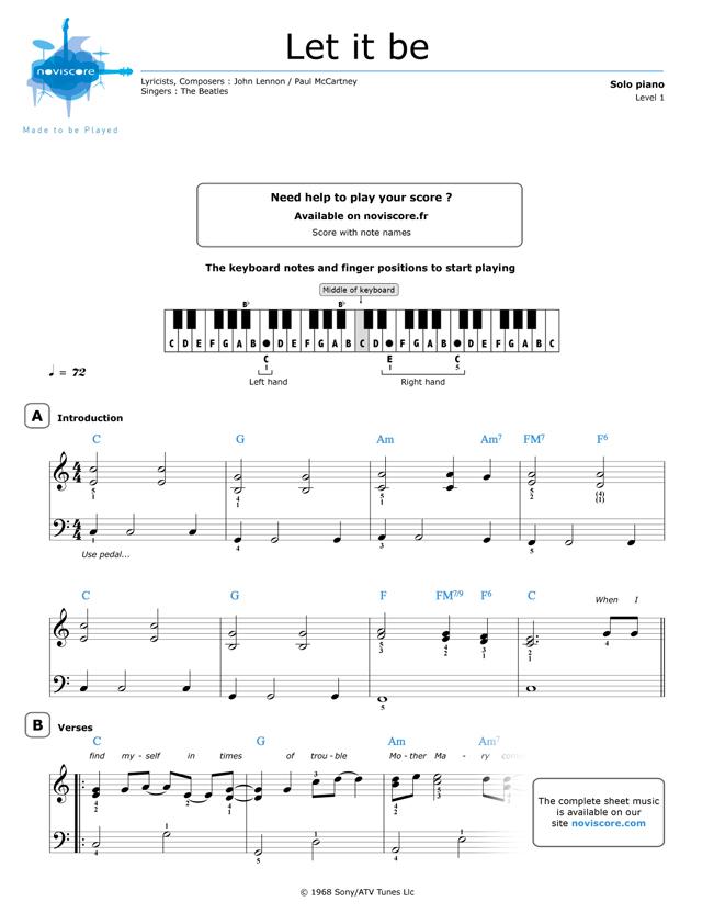 Noten Keyboard Weihnachtslieder Kostenlos.Umsonst Klaviernoten Let It Be The Beatles Noviscore Noten